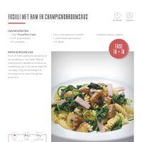 Fusilli met ham & champignonroomsaus